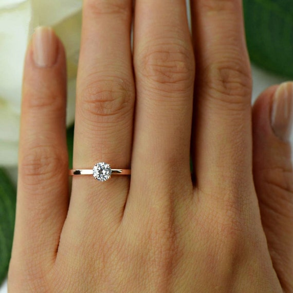 engagement p rings manmade diamond made round silver woman man solitaire sterling for wedding