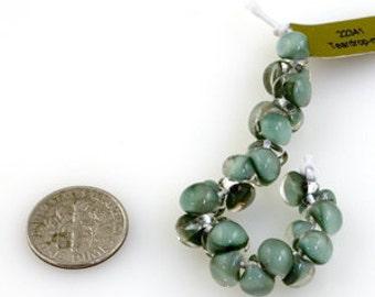 10 Mini Teardrop Handmade Lampwork Beads --Sea Grass 4mm (22341).