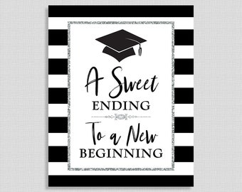 A Sweet Ending To A New Beginning Graduation Sign, Candy Sign, Black & Silver Striped Graduation Party Sign, 8x10 inch, INSTANT PRINTABLE