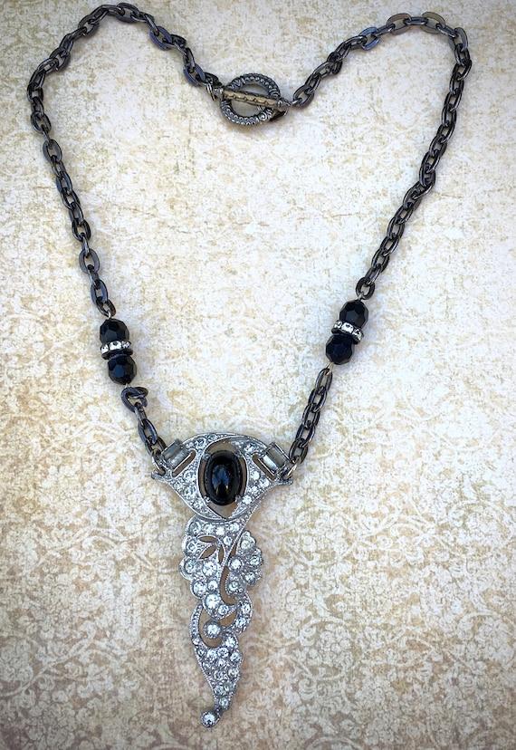 Art Deco vintage necklace, handmade rhinestone necklace