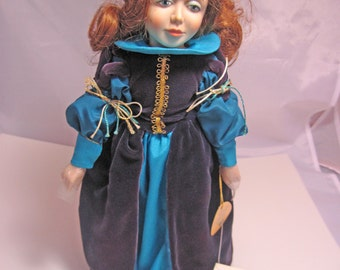"""Beauty Doll from Beauty and the Beast set by Faith Wick for Elegante Dolls by Dakin 15"""" tall with Stand"""