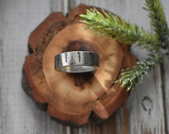 Pine Tree Ring- Forest Pewter Ring- Stamped Winter Trees Ring- Silver Band Forest Ring Nature Jewelry