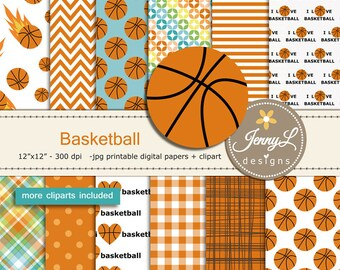 Basketball Digital Papers for Birthday, Sport, School, Scrapbooking Paper Party Theme