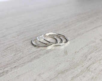 Set of 3 Sterling Silver Hammered Stacking Rings, Handmade Silver Rings, Thin Stacking Rings, Dainty Silver Jewelry