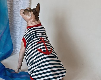 Shirt for cat. Striped vest. Dress for cats. Cat apparel. Clothes for cats. Cat jacket. Sphynx Cat Clothes. Wear cats. Sphynx. Sphinx.