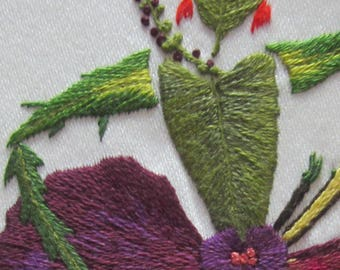 Hand embroidery kit, Pansy,  or Christmas present