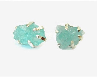 Raw Aquamarine Silver Stud Earrings, March Birthstone, Dainty Earrings, Aquamarine Stud Earring, Aquamarine Jewelry