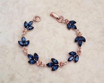 Swarovski navy blue rhinestone bracelet, wedding bracelet, rose gold, navy blue, delicate, something blue, crystal, bridesmaid gift, blue