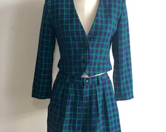 Blazer and Shorts Set, Plaid, 80s Vintage