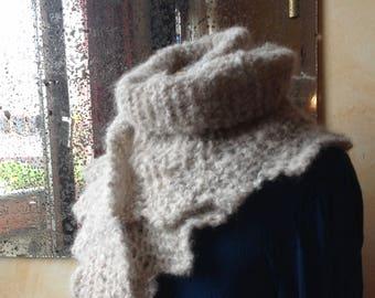 Handknit scarf , shoulder shawl - wool/alpaca/mohair - offwhite