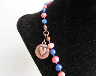 Pink and Blue Pearl Necklace