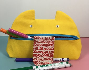 Zip Monster Pencil Case, Zip Pouch, Handmade Cosmetics Case, Screenprint, Cotton Canvas Yellow