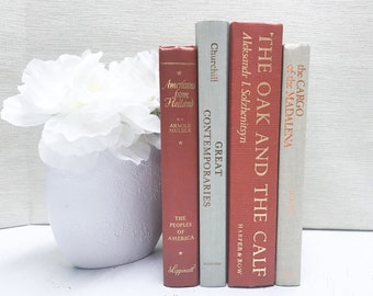 Orange and Beige Decorative Books, Shelf Decor, Old Books, Orange Home Decor