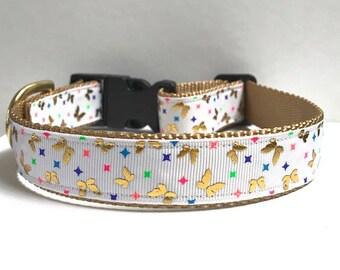 """1"""" Gold Foil Butterflies Collar"""
