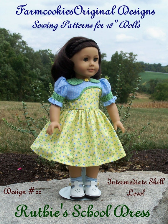 """PDF Sewing Pattern / Ruthie's School Dress Fit American Girl® or other 18"""" Dolls"""