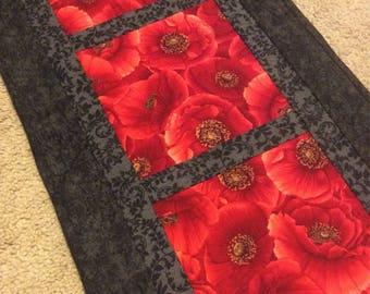 Poppy table runner, red and black table runner, quilted table runner, hand quilted table runner, poppies