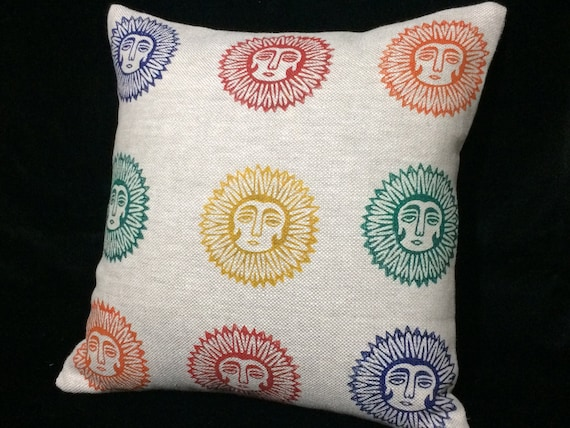 Natural linen pillow cover with lady sun pattern, block printed sofa pillow, Irish linen, cottage style,new home gift,textile stamp