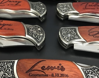 Best Man, Groomsmen, Father of the Groom, Father of the Bride 6pc set Deco Grip Knife with Personalized Engraving