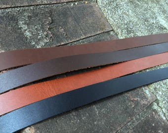 """Leather Strap, purse strap, leather Strip- brown, black, 3/4"""" wide leather. 30, 45, 60 inch, for belts, perfect for purses, crafts, jewelry"""