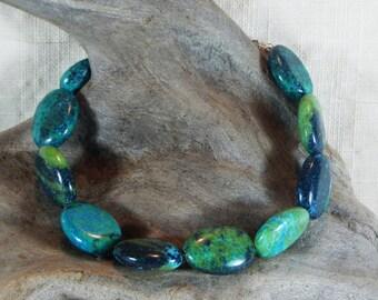 "Teal blue natural chrysocolla chunky bracelet 9"" long aqua green lobster clasp semiprecious stone jewelry 12231"