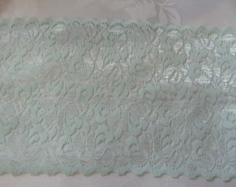 5 metres of 6 inch  vintage Nottingham turquoise lace scallop at both sides
