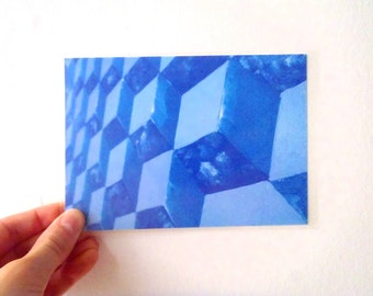 Postal Card - Artistic Perspective 2, Blue Heatwave