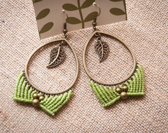 Natural micromacrame earrings, macrame boho earrings, brass rustic earrings, micro macrame pendant, woman elven jewelry