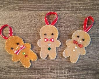 Three Felt Gingerbreadmen