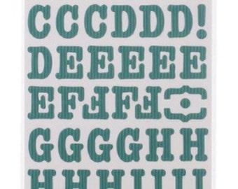 Pebbles SunnySide Corrugated Aqua ABC Stickers -- MSRP 4.00
