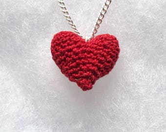 Crocheted heart necklace - crochet jewellery - the perfect gift for Valentine's Day