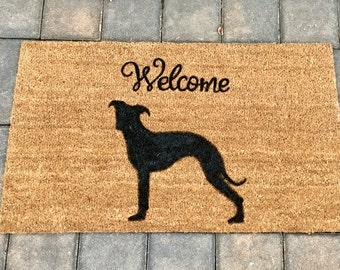 Greyhound Silhouette Mat, Custom Door Mat, Dog Door Mat, Door Mats With  Sayings