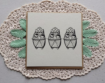 owl christmas card, 3 kings, 3 kings card, sona beam, colouring in, christmas owls, eco, owl illustration, we 3 kings, square greeting card
