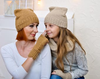 Mother daughter gift set Mom and me beanie Knit cat hat Toddler beanie Matching beanies Knit hats women Family look Mother daughter look