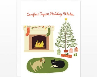 Cozy Christmas Holiday Card - Comfiest Coziest Holiday Wishes - Cat Dog Fireplace Christmas Tree - Cozy Christmas Card, Winter Holiday Card