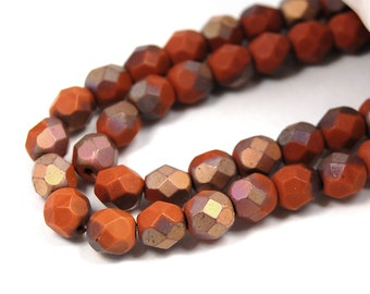 50/pc Matte Apollo Umber Czech 6mm Fire-polished Faceted Round Beads