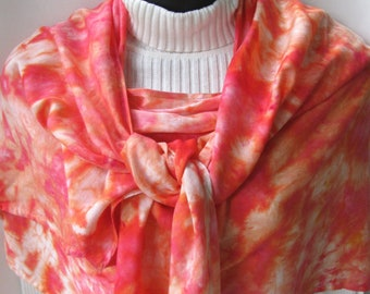 Hand dyed shawl- sherbet- summer shawl summer scarf womens shawls womens scarves gift for her coral pink shawl wedding fashion beachwear