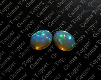 2.65Cts 9x7x4mm Natural Ethiopian Opal Cabochon Oval Pair Multi Welo Fire Opal Natural Opal Loose Gemstone Opal Cab Welo Opal Matching Pair