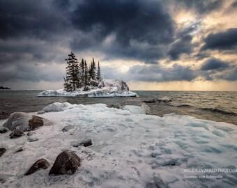 Lake Superior, Dramatic Winter Landscape, Nature Photography, Sunrise, Clouds, Ice, North Shore Minnesota, Fine Art Print, Blue White Yellow