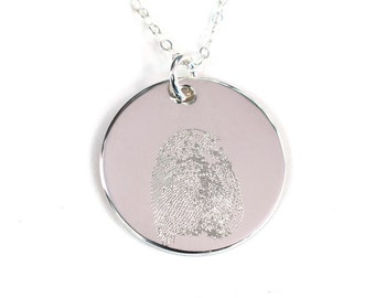 Fingerprint or Thumbprint Necklace - Your Loved One's Actual Fingerprint - Personalized Finger Print Necklace - Sterling Silver