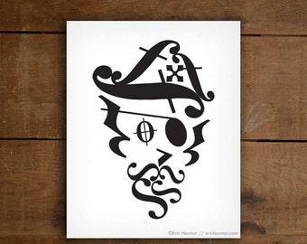 PIRATE art / Music note art print - 5x7, 8x10, 11x14 art print / Music room decor / Music wall art / Music gifts / Music artwork / Band gift