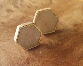 Handmade Wooden Stud Earrings, Maple, Brass Inlay, One-of-a-kind, Hexagon