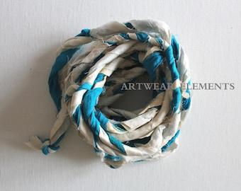 NEW, Hand Spun Sari Silk, Double Silk Twisted, Fair Trade, Textile Fiber, Yarn, Art Yarn, Bracelet Ribbon, Silk Fabric, Artwear Elements AA1