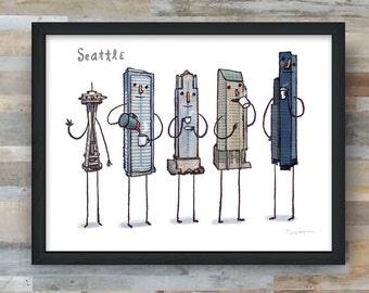 Seattle skyline drinking coffee, art print