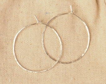 Sterling Silver Hoop earrings, Hand-forged and Hammered