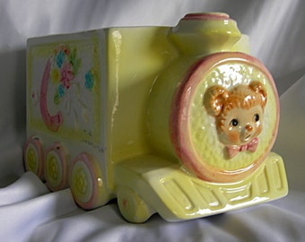 Yellow and Pastel Baby's Room Ceramic Train Planter Organizer Catch All - Unsigned - Vintage