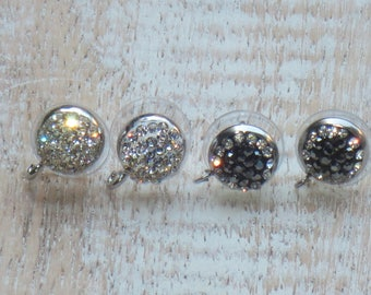 Pave Cz Encrusted Stud Earring Posts with Hook