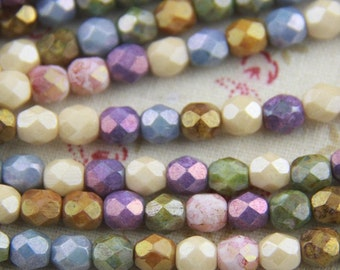 25 pcs strand of Czech glass polished beads-6mm-9017-41-opaque luster  mixture