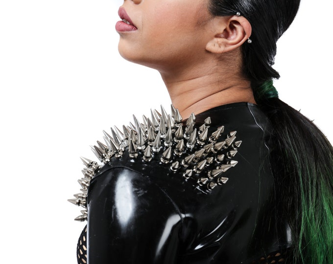 Latex Shrug with Shoulder Spikes