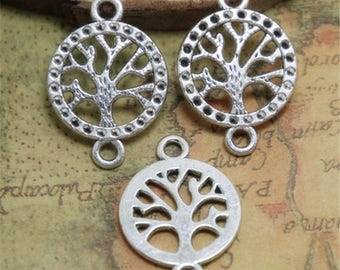 15pcs Life Tree Charms silver tone wish tree Charm Pendants Connector Lucky tree 27x19mm ASD0436