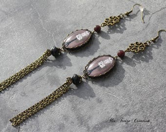 Earrings bronze chocolate brown and black Cabochon bust couture Pompom string Perle unique designer jewelry